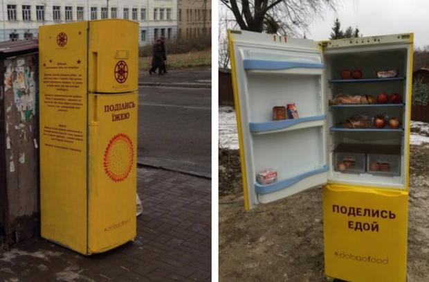 Фудшеринг в Киеве. Холодильники с бесплатной едой для нуждающихся